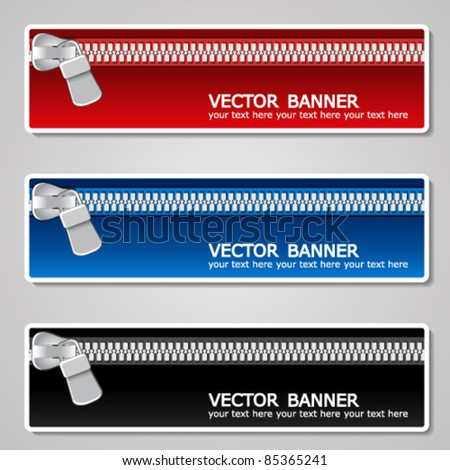 Vector color banners with zipper