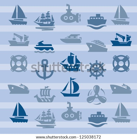vector color boat and ship icons set