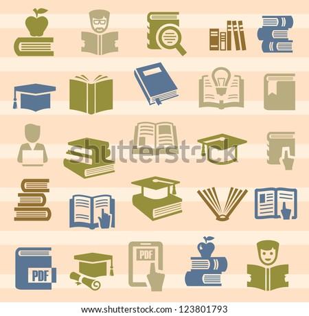 vector color book icons set on color background