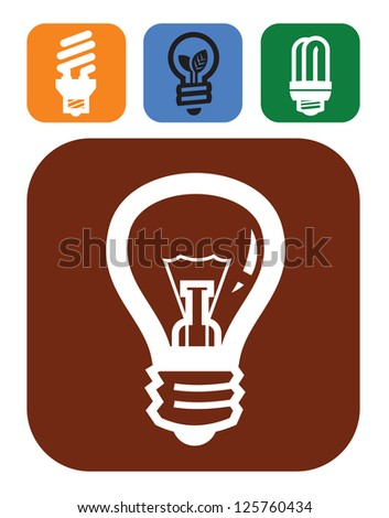vector color bulb icons set on white