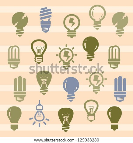 vector color bulbs icons set on beige