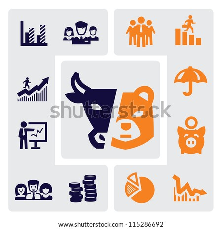 vector color business icons set on gray - stock vector