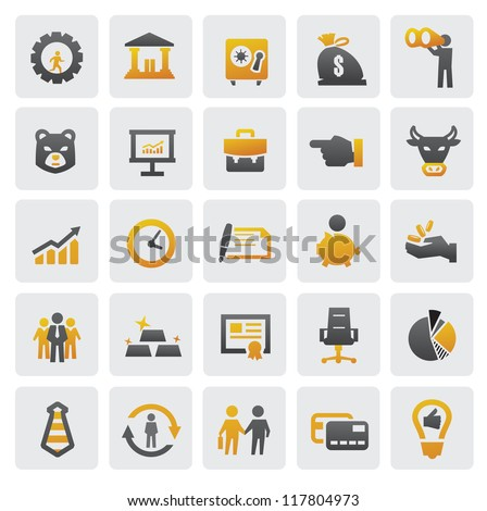 vector color business icons set on gray