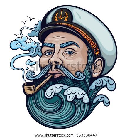 vector color captain portrait