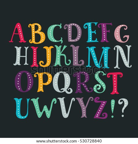stock-vector-vector-color-cartoon-serif-alphabet-hand-drawn-letters-isolated-on-dark-background-colorful