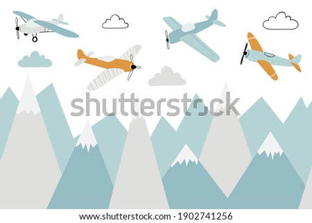 Vector color children hand drawn doodle mountain, aircraft and clouds illustration in scandinavian style. Mountain landscape. Children's wallpaper. Mountainscape, children's room design, wall decor.