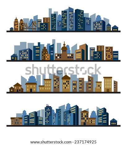 vector color cities silhouette icons set on white