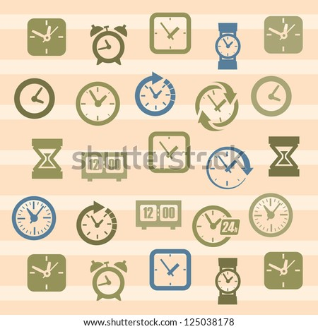 vector color clocks icons in the beige squares