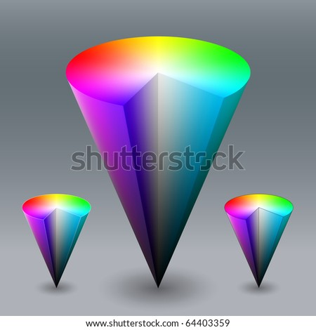 Vector color cone, representing HSV (HSB) color space. Created using gradient meshes.