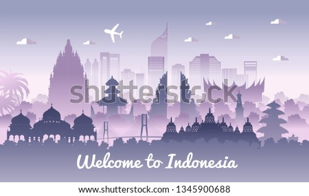 Vector color design, Illustration of Indonesia Icons and landmarks. Indonesia in garden theme