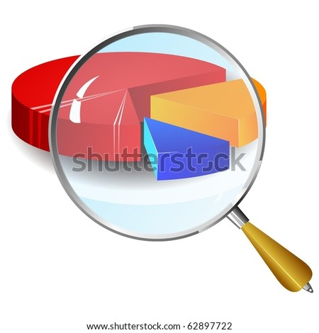 vector color diagram with a magnifying glass