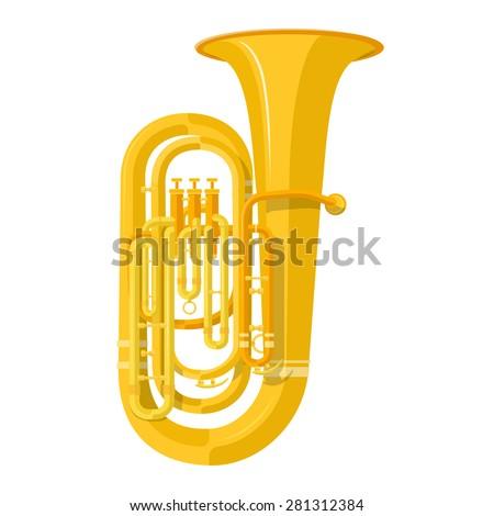 vector color flat design tuba wind instrument vector illustration white background Сток-фото ©