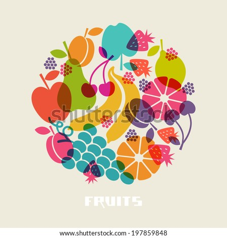 Vector color fruits icon. Food sign. Healthy lifestyle illustration for print, web. Circle design element