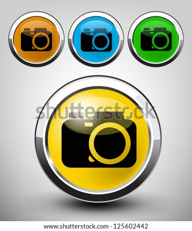 vector color glossy camera icon set for web applications