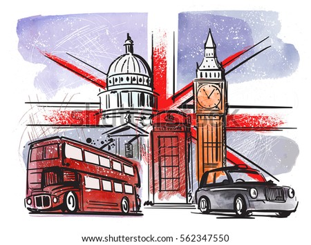 vector color great britain and london illustration