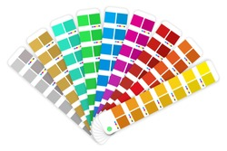 Vector color guide. Color matching palette isolated on a white background. Sample colors catalog. Vector illustration.