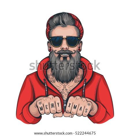 Vector Color Hipster Tattoo Santa Illustration