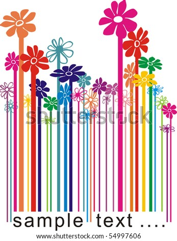vector color illustration bar code changing the flowers
