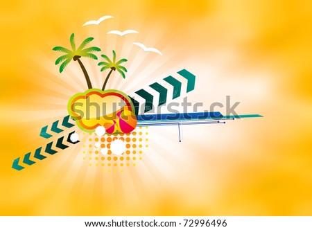 Vector color illustration. Beach, sun, palm trees, beach ball