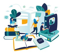 vector color illustration, distance learning, online courses, education, online books and textbooks, collective learning, exam preparation vector