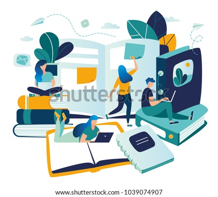 vector color illustration, distance learning, online courses, education, online books and textbooks, collective learning, exam preparation