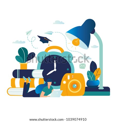 vector color illustration, distance learning, online courses, education, online books and textbooks, exam preparation, home schooling