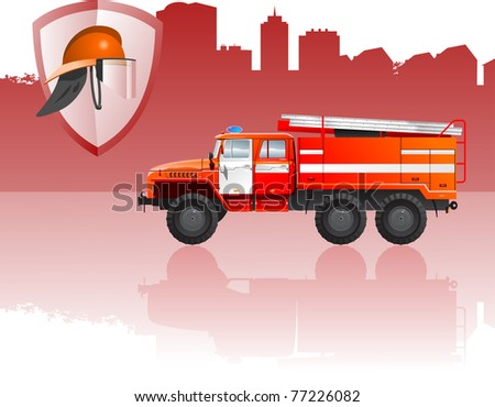 vector color illustration of  fire apparatus. (Simple gradients only - no gradient mesh.)