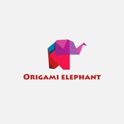 Vector color illustration of origami elephant