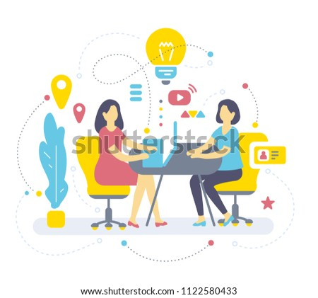 Vector color illustration of two woman are sitting at table on armchair, plant, icon, light bulb. Brainstorm concept. Flat style design of job interview for web, site, banner