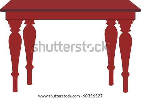 Vector color image of an isolated table with cartoon style