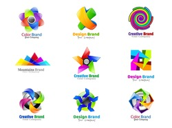 Vector color logo. Corporate identity icon. Design elements. Set colorful abstract 3d icons sign. Symbols templates logos.