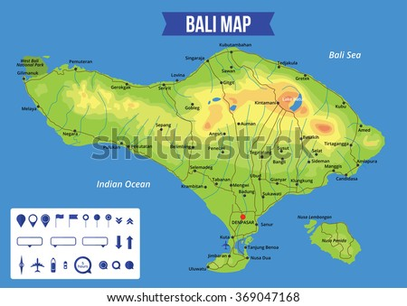 Vector bali map download free vector art stock graphics images vector color map of bali with capital denpasar important cities and roads all objects gumiabroncs Gallery