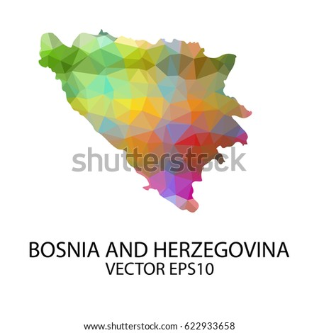 vector color map of bosnia and