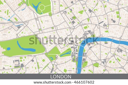 vector color map of central london all objects are located on separate layers