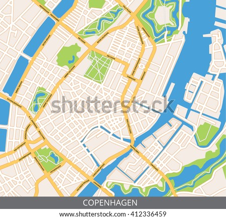 Vector color map of Copenhagen, the capital of Denmark. All objects are located on separate layers. Elements of this image are furnished by NASA.