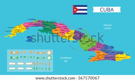 vector color map of cuba with capital havana provincies important cities and roads