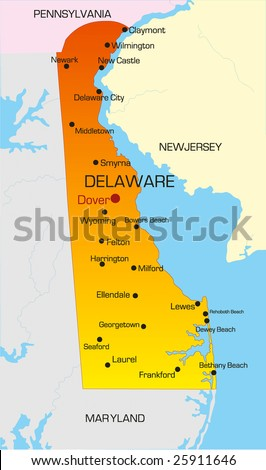 Vector color map of Delaware state. Usa