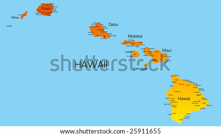 Vector color map of hawaii state. Usa