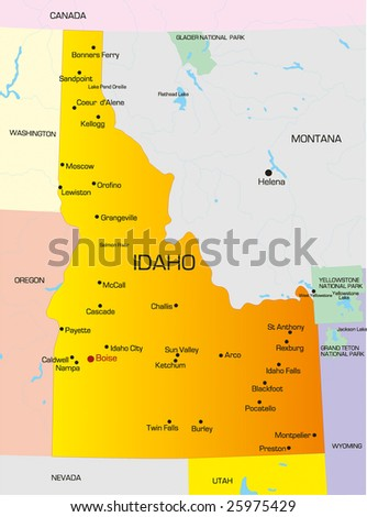 Vector color map of Idaho state. Usa