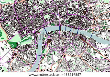 vector color map of london