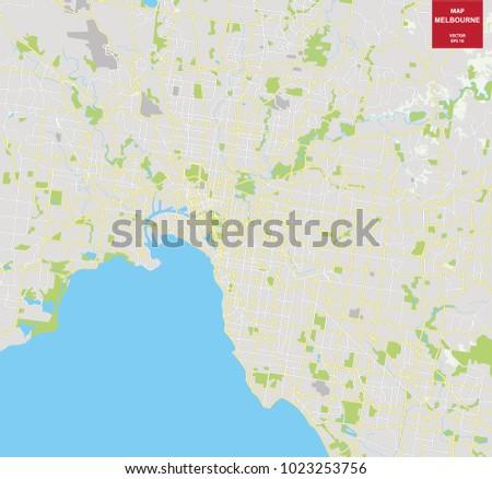 Vector color map of Melbourne, Australia. City Plan of Melbourne. Vector illustration