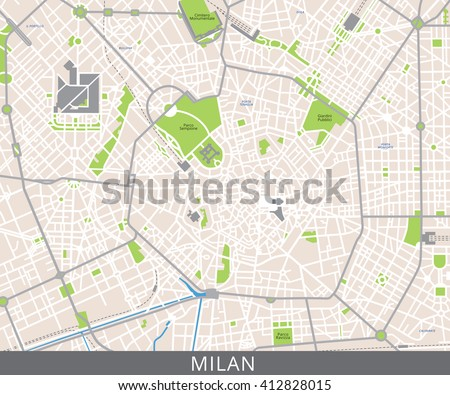 Vector color map of Milan, Italy. All objects are located on separate layers. Elements of this image are furnished by NASA.