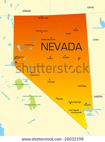 Vector color map of Nevada state. Usa