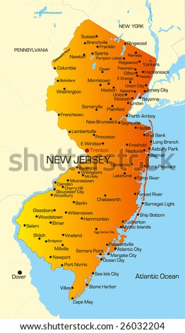 maps of new jersey and new