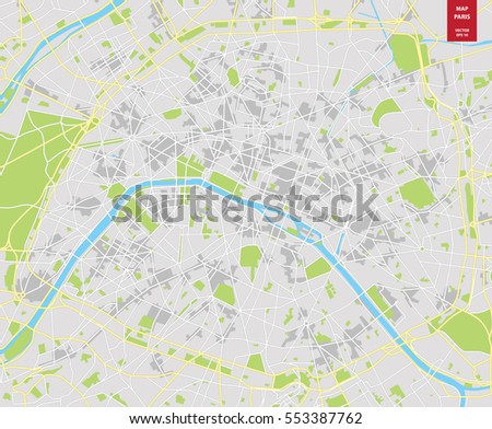 vector color map of  paris