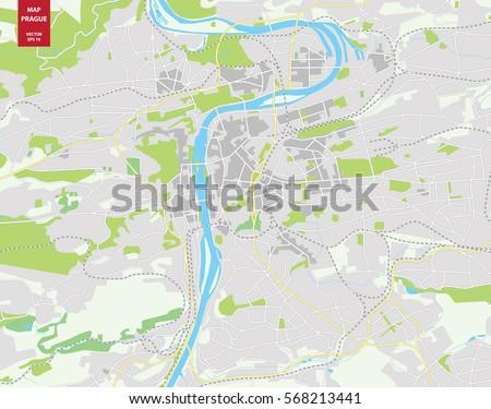 Vector color map of Prague, Czech Republic. City Plan of Prague ...