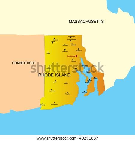 Grunge State Map Of Rhode Island