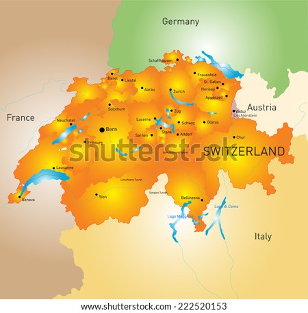 Free switzerland map vector download free vector art stock vector color map of switzerland gumiabroncs Image collections