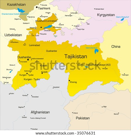 Vector color map of Tajikistan  country - stock vector