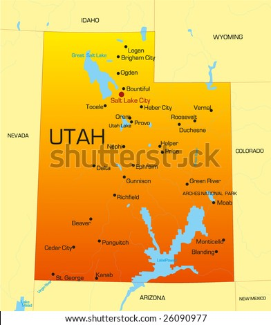 vector color map of utah state